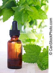 médecine fines herbes, compte-gouttes, bouteille