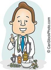 médecine fines herbes, homme, recommander, docteur