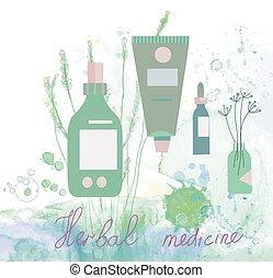 médecine fines herbes, illustration, à, bouteilles