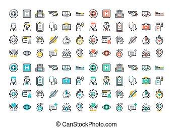 médecine, healthcare, ensemble, icônes