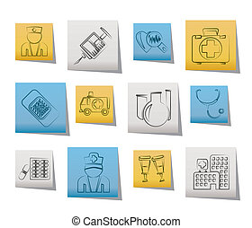 médecine, healthcare, icônes