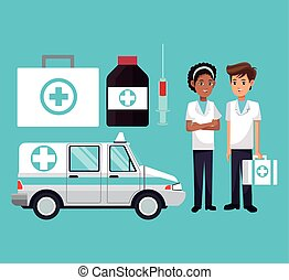 médecine, kit, personnel, ambulance