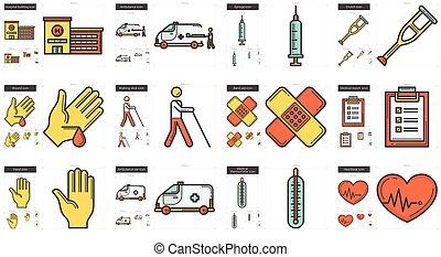 médecine, ligne, set., icône