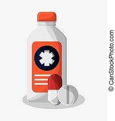 médecine, monde médical, conception, bouteille, soin
