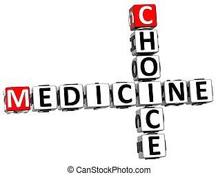 médecine, mots croisés, 3d, choix