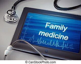 médecine, mots, tablette, famille, exposer