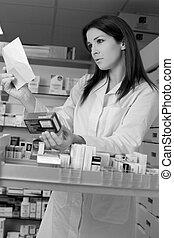 médecine, pharmacien, femme, prescription