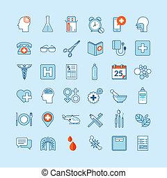 médecine, plat, conception, icônes