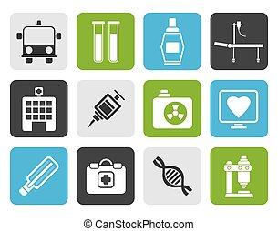 médecine, plat, healthcare, icônes