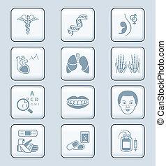 médecine, série, technologie, |, icônes