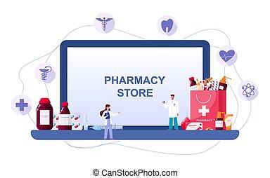 médecine, screen., toile, pharmacie, ligne, healthcare., ...