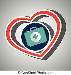 médecine, services, symbole, icône