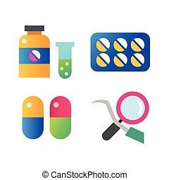 médecine, set., icônes