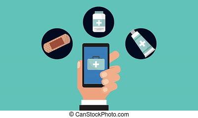 médecine, smartphone, tele, animation