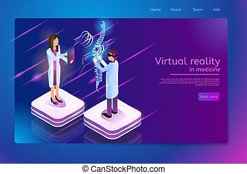 médecine, technologies, vecteur, réalité virtuelle