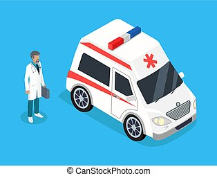 médecine, voiture, ambulance, infirmier, kit