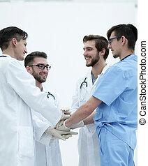médecins, élevé, groupe, cinq, donner