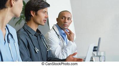 médecins, 4k, réunion, jeune, séance
