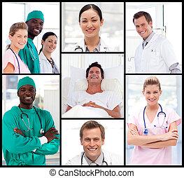 médecins, assister, à, a, patient, sourire, à, les, appareil photo