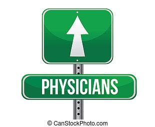 médecins, conception, route, illustration, signe