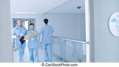 médecins, couloir, hôpital, 4k