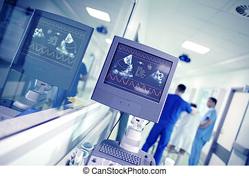 médecins, couloir, mâle, activité, fond, conversation, cardiaque, hôpital, contrôler