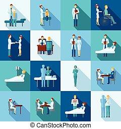 médecins, ensemble, icônes