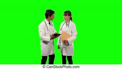 médecins, leur, numérique, résultats, tablette, vue, vert, vérification, écran, devant