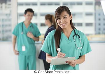 médecins, nurses., asiatique, équipe