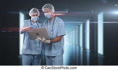 médecins, ordinateur portable, porter, coronavirus, masques, utilisation, animation, covid-19