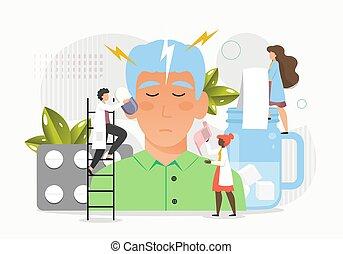 médecins, patient, illustration, migraine, vecteur, plat, mal tête, professionnels médicaux, traiter