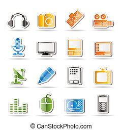 média, équipement, icônes