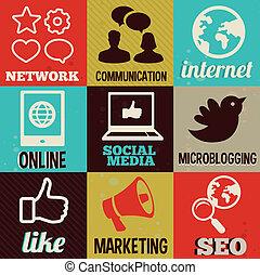média, étiquettes, retro, interne, social