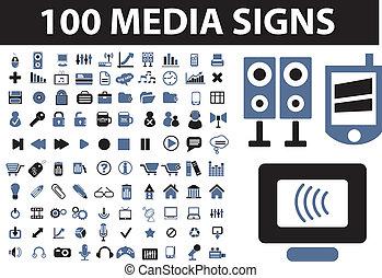 média, 100, signes