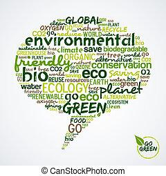 média, aller, bulle, social, nuage, mots, vert, green.