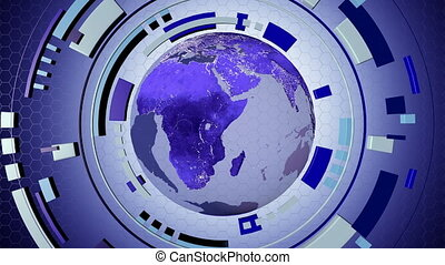 média, animé, hud, la terre, interactif, 4k, loop-able, globe