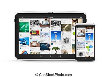 média, application, numérique, appareils, social