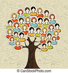 média, arbre, réseaux, social