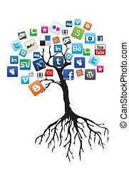 média, arbre, social