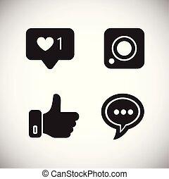 média, blanc, social, fond, icônes