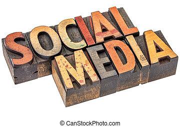 média, bois, type, social