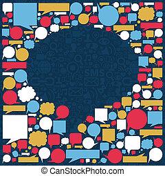 média, bulle, parler, texture, social