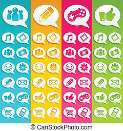 média, bulles, parole, icônes