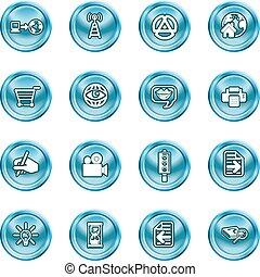 média, calculer, icônes internet