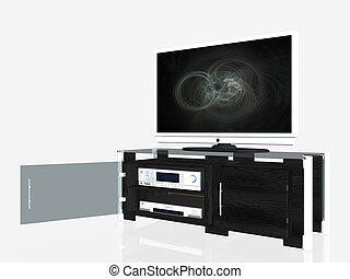 média, centre, écran plasma