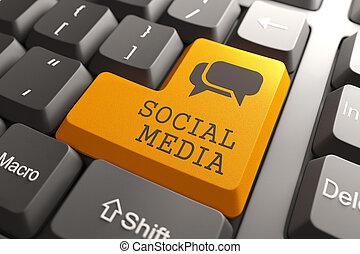 média, clavier, button., social