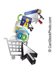 média, concept abstrait, achats, cart.