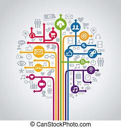 média, concept, arbre, social