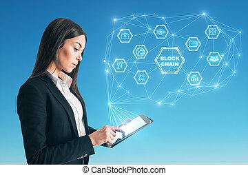 média, concept, blockchain