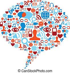 média, concept, bulle, social